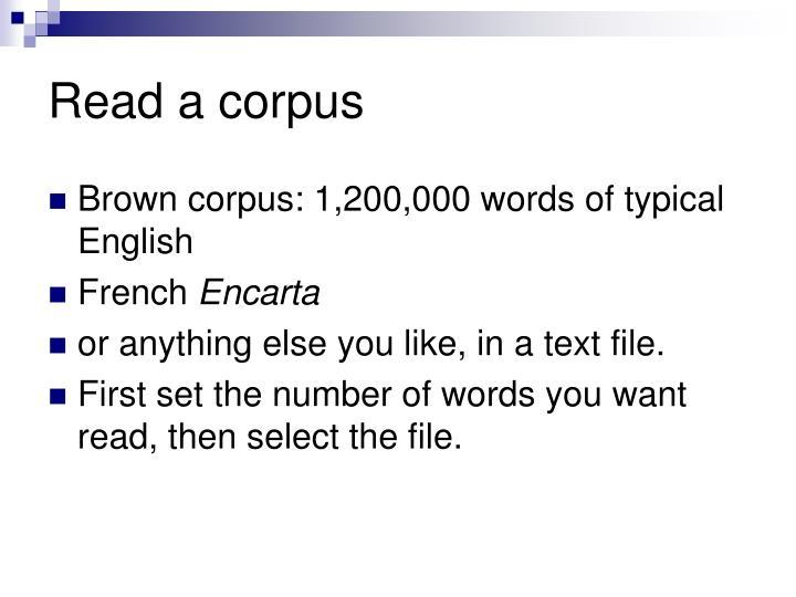 Read a corpus