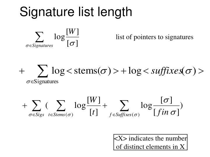Signature list length