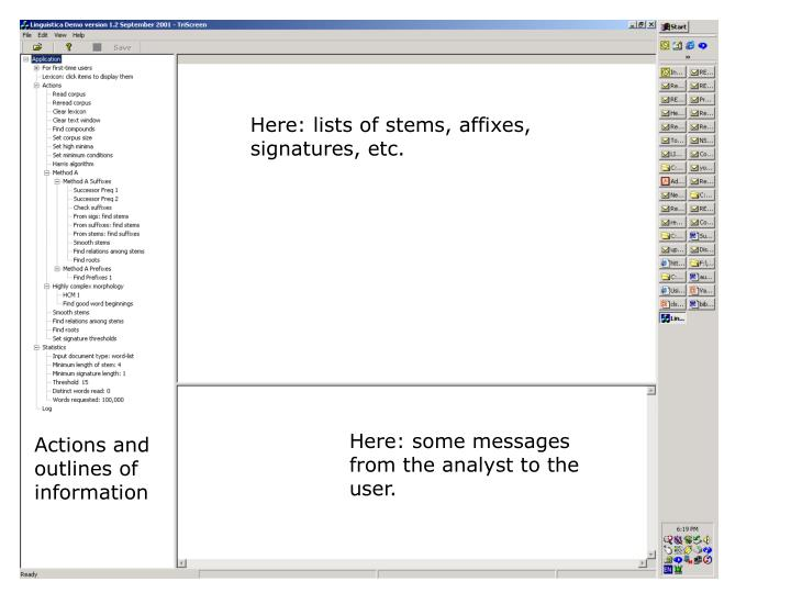 Here: lists of stems, affixes,