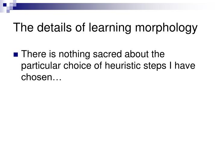 The details of learning morphology
