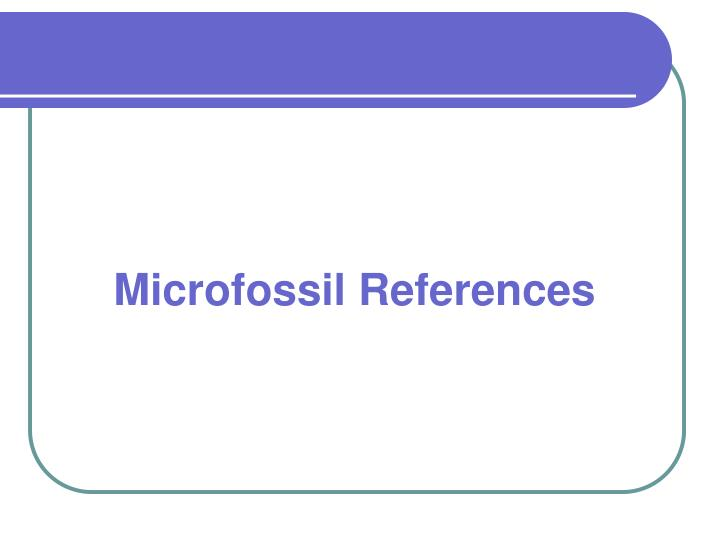 Microfossil References