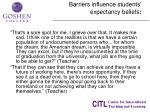 barriers influence students expectancy beliefs
