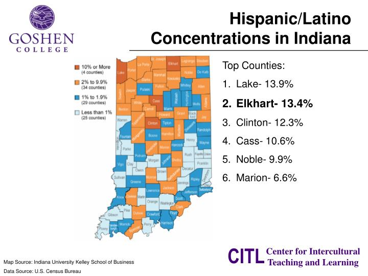 Hispanic/Latino Concentrations in Indiana