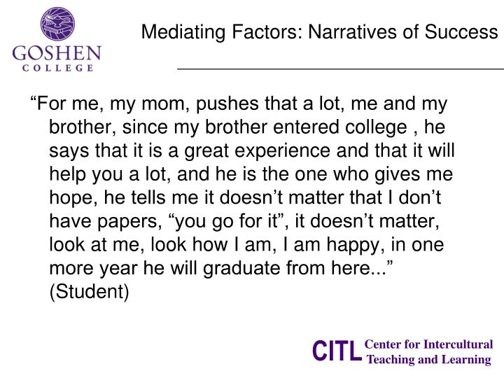 Mediating Factors: Narratives of Success