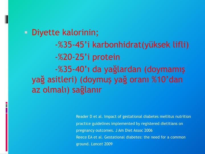 Diyette kalorinin;