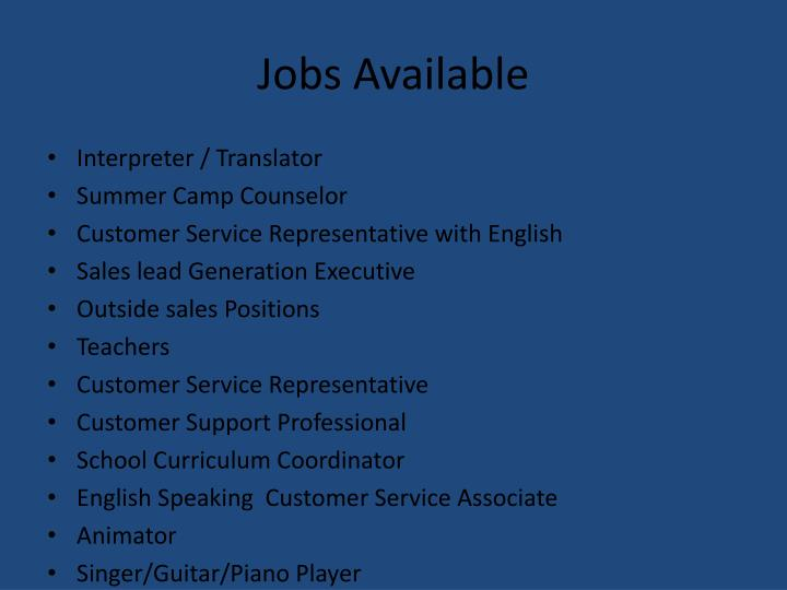 Jobs Available