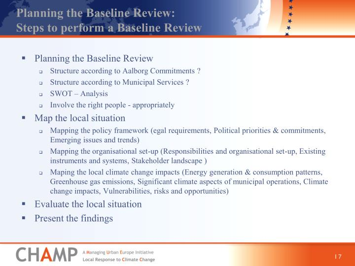 Planning the Baseline Review: