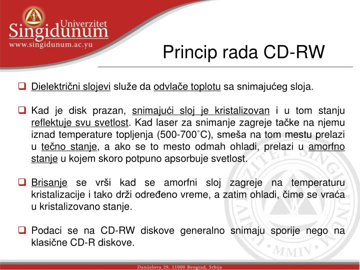 Princip rada CD-RW