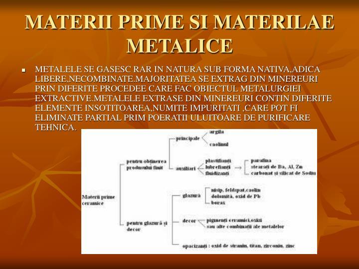 MATERII PRIME SI MATERILAE METALICE