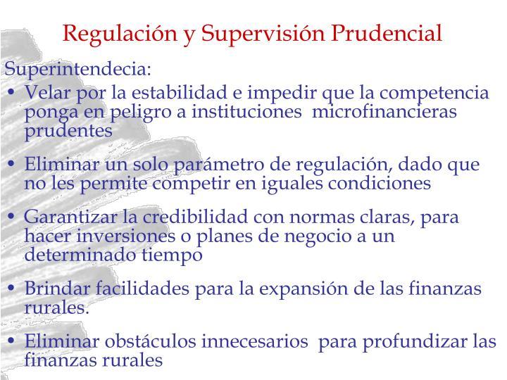 Regulación y Supervisión Prudencial