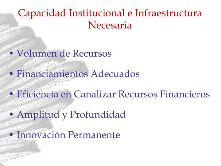 Capacidad Institucional e Infraestructura Necesaria