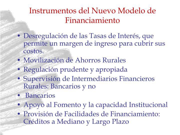 Instrumentos del Nuevo Modelo de Financiamiento