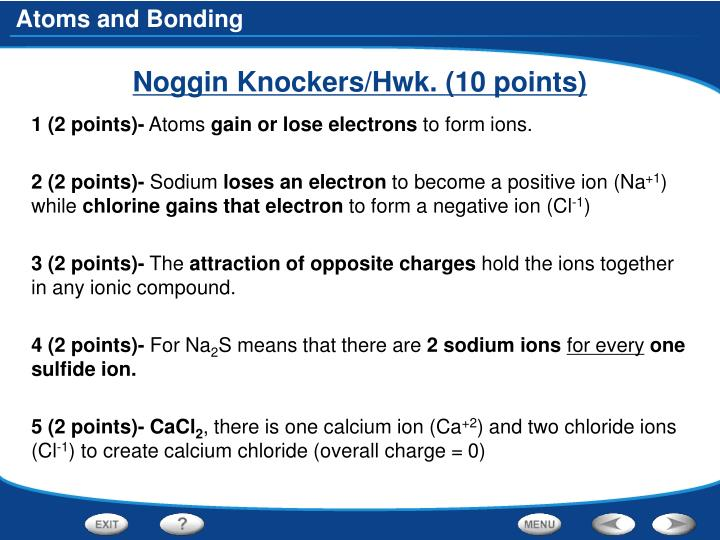 Noggin Knockers/Hwk. (10 points)