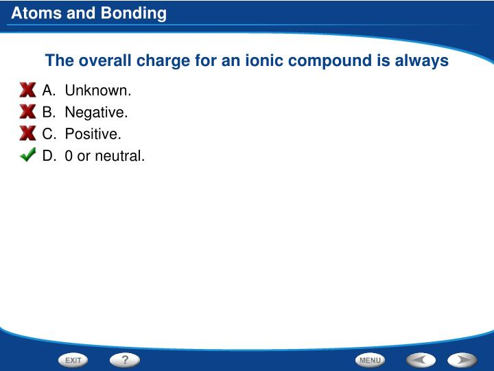 The overall charge for an ionic compound is always