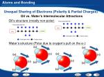 unequal sharing of electrons polarity partial charges