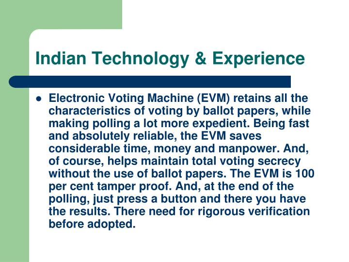 Indian Technology & Experience