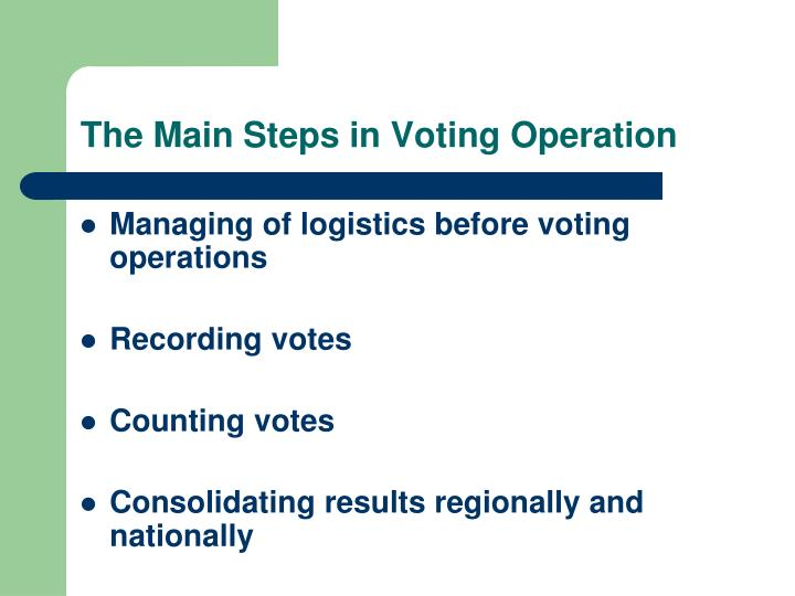 The Main Steps in Voting Operation