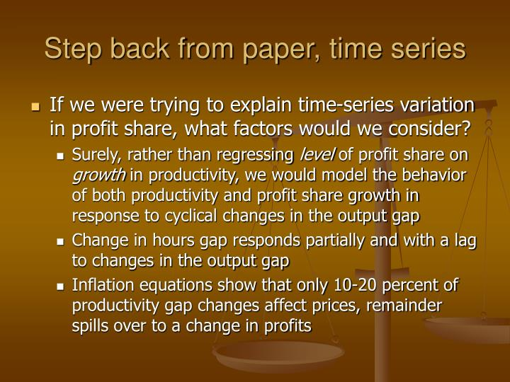 Step back from paper, time series
