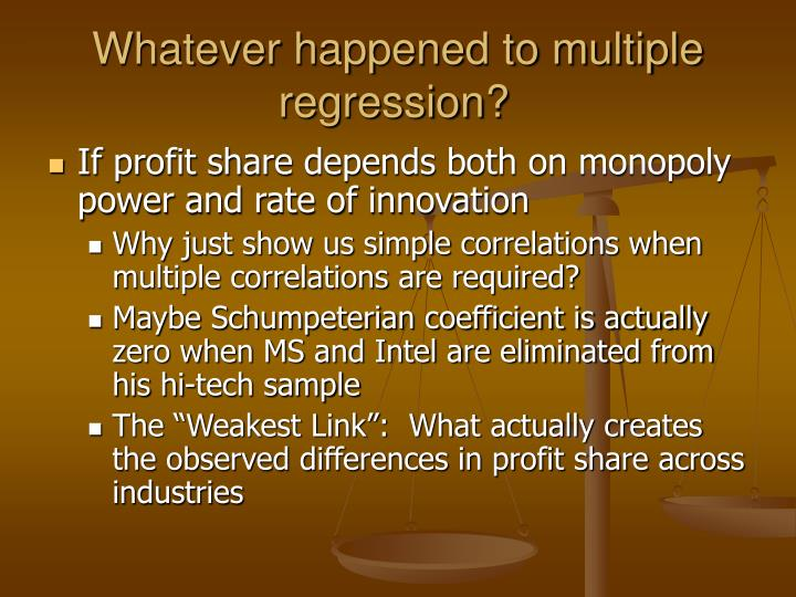 Whatever happened to multiple regression?