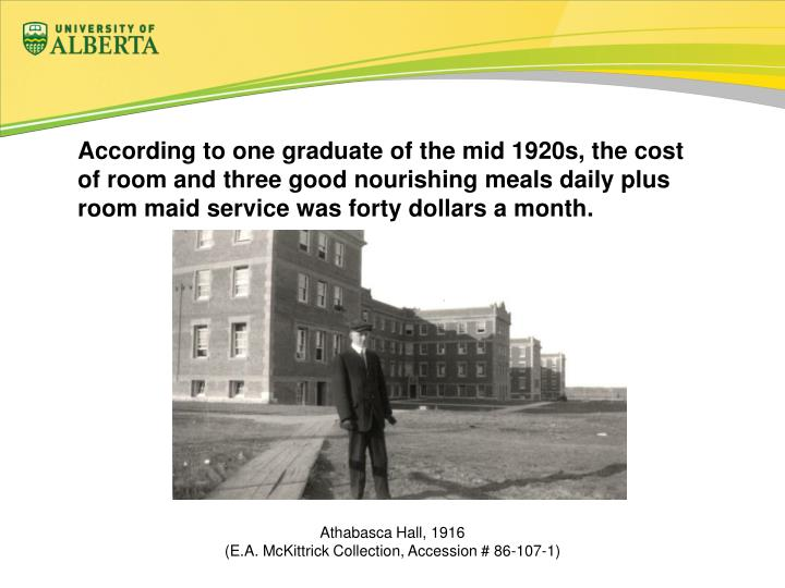 According to one graduate of the mid 1920s, the cost of room and three good nourishing meals daily plus room maid service was forty dollars a month.