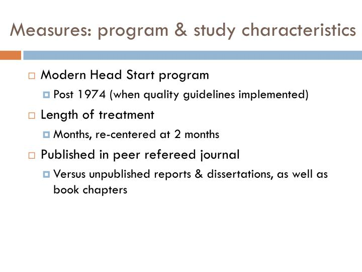 Measures: program & study characteristics