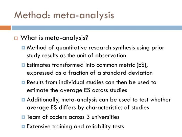 Method: meta-analysis
