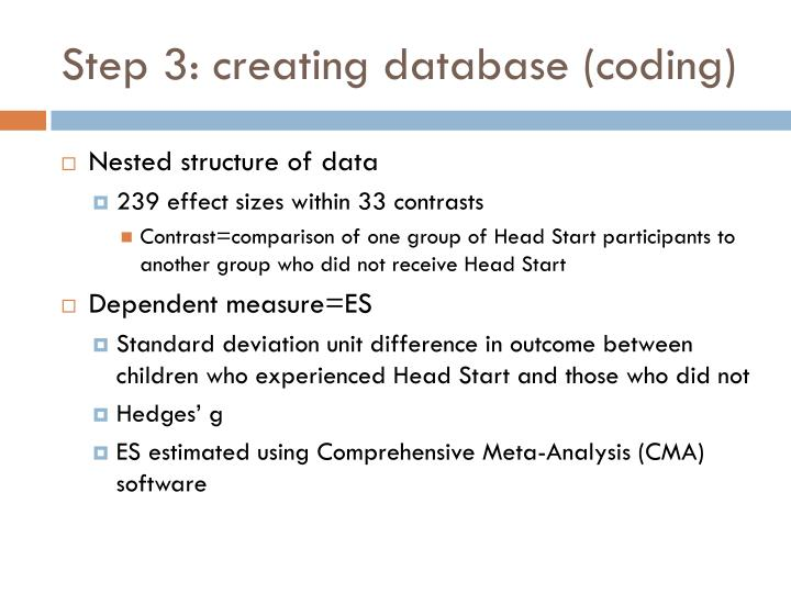 Step 3: creating database (coding)