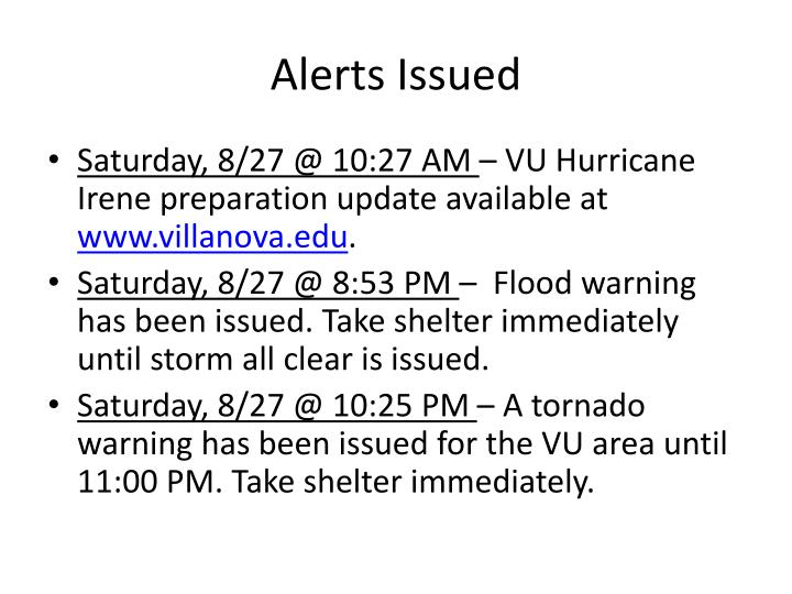 Alerts Issued
