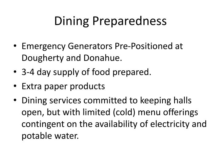 Dining Preparedness
