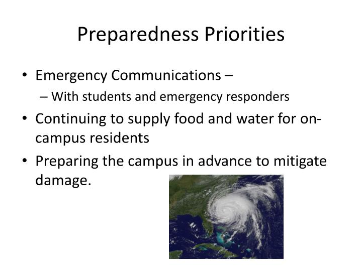 Preparedness Priorities