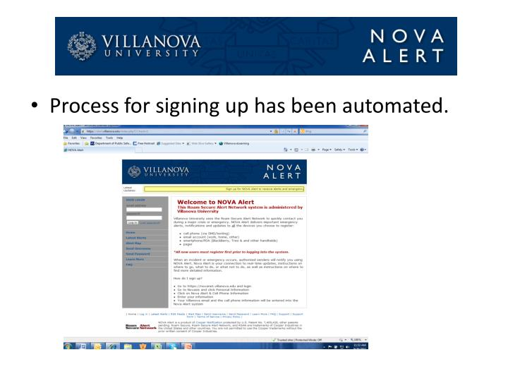 Process for signing up has been automated.