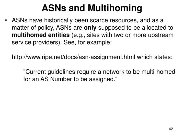 ASNs and Multihoming