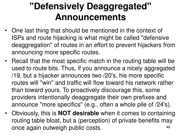 """Defensively Deaggregated"" Announcements"