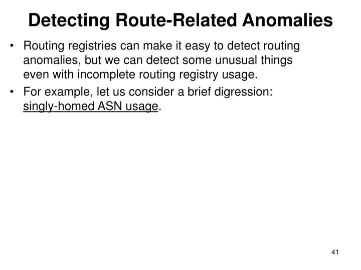 Detecting Route-Related Anomalies