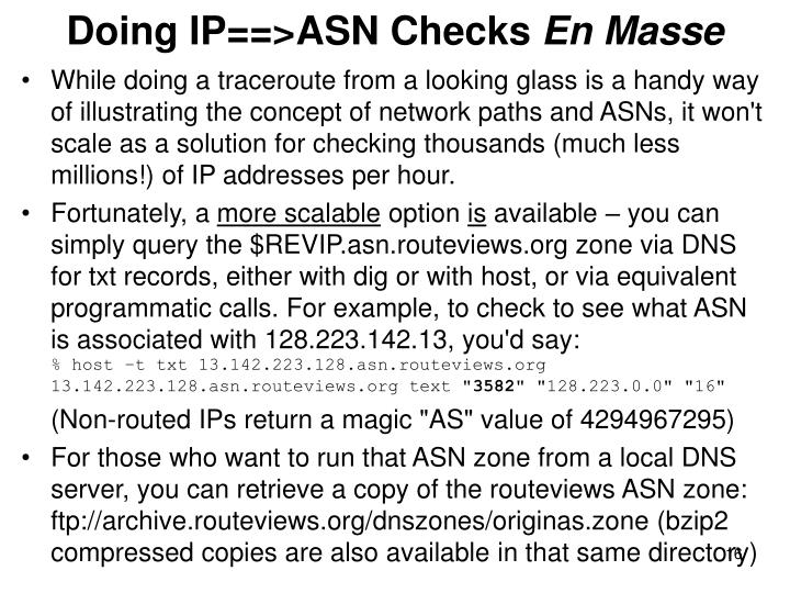 Doing IP==>ASN Checks