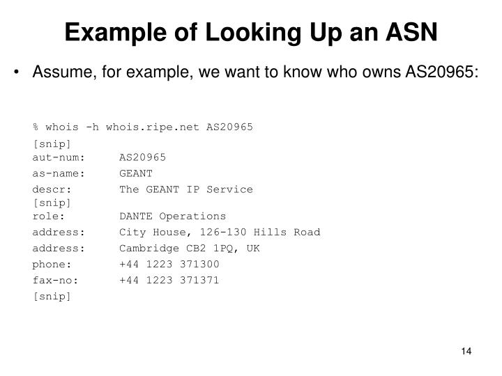 Example of Looking Up an ASN