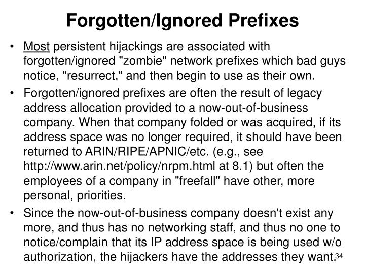 Forgotten/Ignored Prefixes