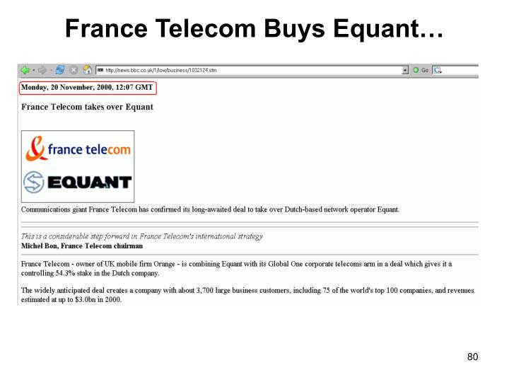 France Telecom Buys Equant…