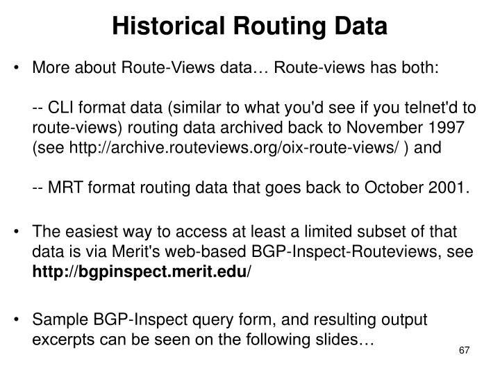 Historical Routing Data
