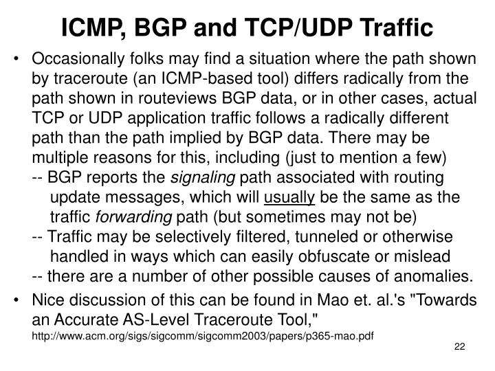 ICMP, BGP and TCP/UDP Traffic