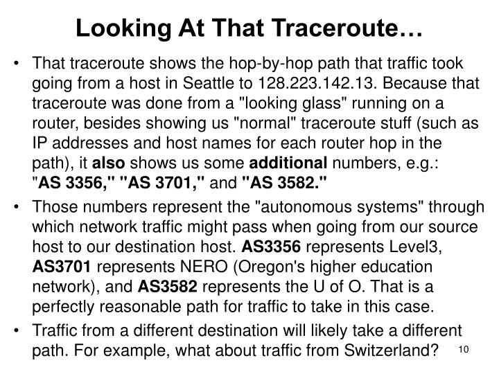 Looking At That Traceroute…