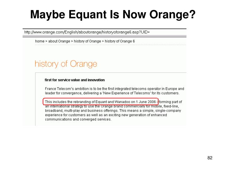 Maybe Equant Is Now Orange?