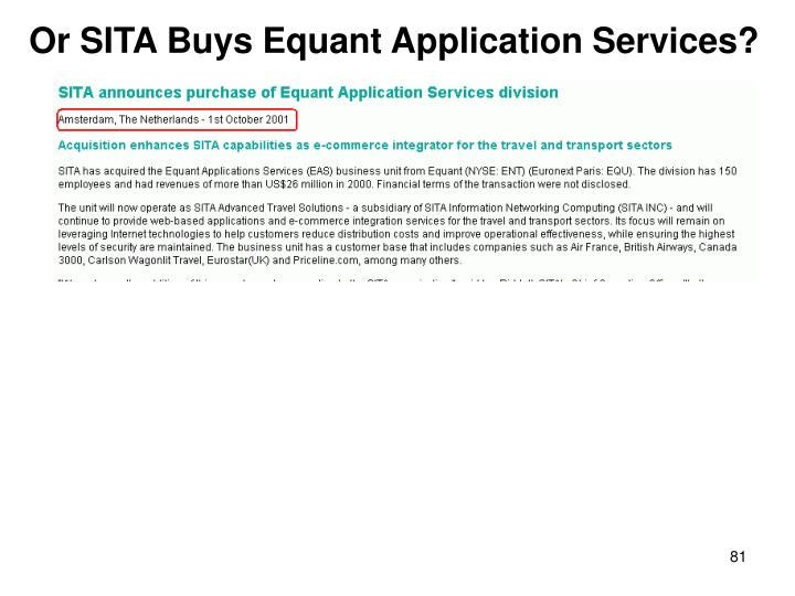 Or SITA Buys Equant Application Services?
