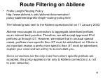 route filtering on abilene