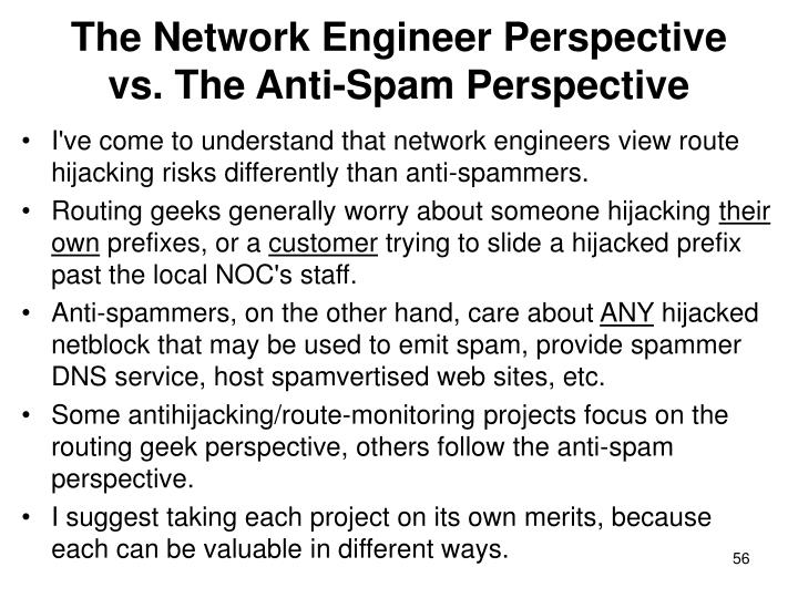 The Network Engineer Perspective