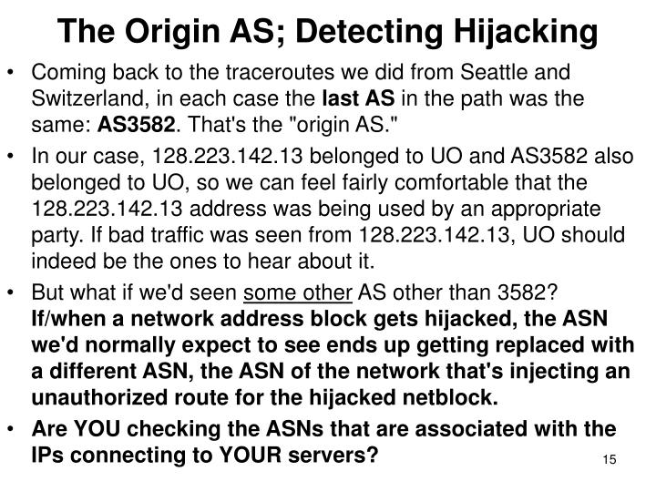 The Origin AS; Detecting Hijacking