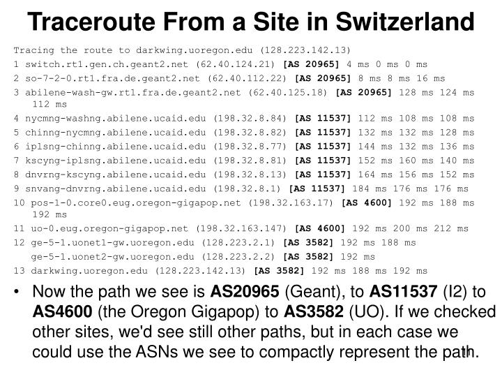 Traceroute From a Site in Switzerland