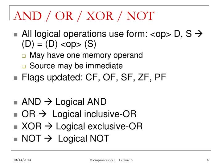 AND / OR / XOR / NOT