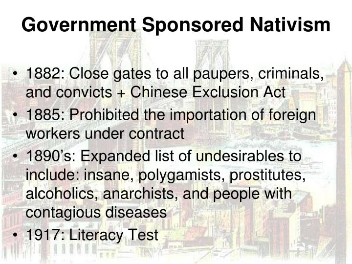 1882: Close gates to all paupers, criminals, and convicts + Chinese Exclusion Act