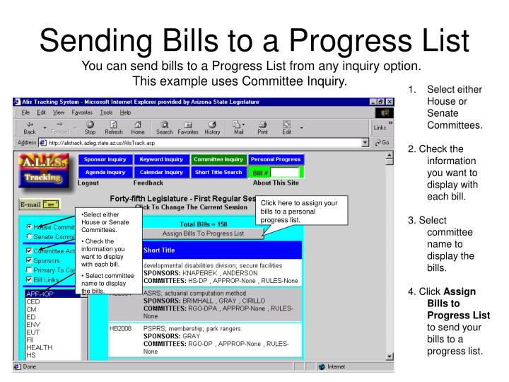 Click here to assign your bills to a personal progress list.